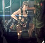 1boy 1girl big_boss bikini blue_eyes breasts brown_hair cleavage cum cum_in_mouth explosive facepaint fellatio front-tie_bikini front-tie_top grenade gun hetero highres holster jesus_avalos long_hair metal_gear_(series) metal_gear_solid metal_gear_solid_v mismatched_gloves nice_tits open_fly oral overflow pantyhose penis planted_weapon ponytail pumpkinsinclair quiet quiet_(metal_gear) rifle sideboob single_elbow_glove sitting sniper_rifle soldier suspenders swimsuit thigh_holster torn_clothes torn_pantyhose uncensored unzipped weapon