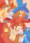 "ass beasts bent_over comic cum cumshot knuckles_the_echidna licking miles_""tails""_prower nude outdoor pussy sally_acorn sega sex sonic_the_hedgehog sucking threesome"