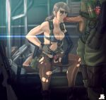1boy 1girl big_boss bikini blue_eyes breasts brown_hair cleavage explosive facepaint fellatio front-tie_bikini front-tie_top grenade gun hetero highres holster jesus_avalos long_hair metal_gear_(series) metal_gear_solid metal_gear_solid_v mismatched_gloves open_fly oral pantyhose penis planted_weapon ponytail pumpkinsinclair quiet quiet_(metal_gear) rifle single_elbow_glove sitting sniper_rifle soldier suspenders swimsuit thigh_holster torn_clothes torn_pantyhose uncensored unzipped weapon
