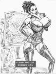 1girl 2010 big_breasts breasts doctor_who face_of_boe julius_zimmerman_(artist) lingerie martha_jones monochrome nipples panties penis