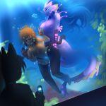 animal_ears anthro big_breasts blush breasts drowning from_behind furry futanari intersex mermaid nekomimi smart_phone underwater voyeur