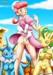 3girls anthro ass blush breasts dress dress_lift furry leafeon multiple_girls no_panties nurse_joy pokemon pokepornlive vaporeon