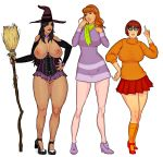 breasts corset daphne_blake dress halloween nipples pussy scooby-doo shoes skirt socks velma_dinkley witch
