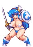 1girl animated animated_gif armor bikini_bottom blue_eyes blue_hair boots bouncing_breasts breasts clothed fighting_stance gif gloves hairband huge_breasts long_hair lowres navel original panties pasties pixel_art pixelated sb sb_(coco1) shield solo sword tecna topless warrior weapon