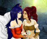 2girls ahri animal_ears arm arms art bare_shoulders blue_hair breasts brown_hair cleavage dark_skin detached_sleeves eye_contact facial_mark forehead_jewel fox_ears fox_tail fur green_eyes hair half-closed_eyes high_res incipient_kiss interracial japanese_clothes kiaraanimex kiaraanimex_(artist) league_of_legends lips long_hair looking_at_another love midriff multiple_girls multiple_tails mutual_yuri necklace nidalee ponytail smile strapless tail upper_body yellow_eyes yuri