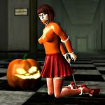ball_gag bondage breasts checkered checkered_floor gag nipples scooby-doo shoes skirt stockings velma_dinkley