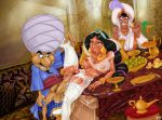 aladdin aladdin_(series) big_breasts breasts cum cum_inside disney impregnate impregnation magic_lamp penis princess_jasmine pussy stockings titflaviy