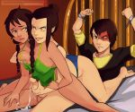 2girls avatar:_the_last_airbender azula bdsm breast_grab breasts chains cum green_eyes handjob incest jin lipstick multiple_girls nickelodeon orange_eyes panties penis polyle scar underwear zuko