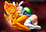 2girls adventure_time animal_hat ass backpack barefoot blonde_hair blush breasts closed_eyes feet fionna_the_human fire flame_princess nipples orange_hair pussy thighhigh toes yuri yuri_haven