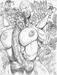 big_breasts breasts cyclops fellatio hot julius_zimmerman_(artist) monochrome monster nipples oral scooby-doo sexy suplex velma_dinkley