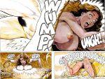 brown_hair cave cavewoman comic dinosaur funny long_hair nude raptor tan tan_line