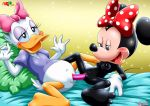 2girls blush bow breasts daisy_duck disney interspecies minnie_mouse multiple_girls nude palcomix pussy yuri