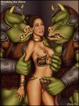 1girl 2boys alien armband braid breasts brown_hair forced human imminent_rape interspecies nipples princess_leia_organa rape scared shabby_blue slave_leia star_wars straight