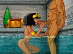1_boy 1_girl egypt fellatio human legend_of_queen_opala male oral oral_sex queen_opala rosselito_(artist)