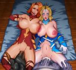 big_breasts blonde_hair bottomless breasts cum cum_in_pussy cum_inside dota_2 erect_nipples finger_fuck fingering hair huge_breasts huge_penis lina lion navel nipples on_back orange_hair penis pussy_juice rylai_the_crystal_maiden sex stockings stomach_bulge teeth tongue torn_clothing tortuga uncensored vaginal_fingering vaginal_penetration veiny_penis