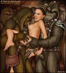 alien anal anal_penetration breasts chewbacca double_penetration feet female_human interspecies natalie_portman nude padme_amidala sex shabby_blue soles star_wars tarfful threesome toes vaginal vaginal_penetration wookiee