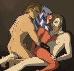 1girl ahsoka_tano anakin_skywalker applesmut clone_wars men obi-wan_kenobi star_wars straddle togruta
