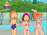bikini braces chris_griffin edit family_guy glasses lois_griffin meg_griffin patty(character) pony_tail poolside swim_suits