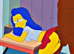 ass breasts eyelashes half-closed_eyes interracial marge_simpson panties penis skirt testicles the_simpsons yellow_skin