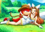 1girl anthro furry knuckles_the_echidna male mobius_unleashed princess_sara sega sonic_team tagme
