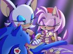 1girl amy_rose angelofhapiness anthro fellatio furry male male/female oral rouge_the_bat sega sex sonic_the_hedgehog