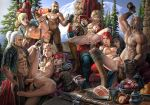 1girl anal blonde_hair breasts double_anal erection food hair multiple_boys multiple_girls multiple_penises nipples nude orgy penis pussy red_hair sex the_witcher white_hair