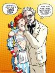 colonel_sanders dominated kfc orange_background polka_dot_background torn_clothes wendy's wendy_(mascot)