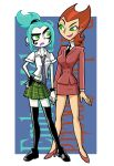 2girls aqua_hair art artist_request blue_hair danny_phantom earring ember_mclain green_eyes hair hand_holding high_heels lipstick looking_at_another multiple_girls nickelodeon orange_hair pale_skin penelope_spectra smile tattoo teacher yuri