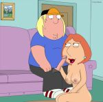 breasts chris_griffin couch family_guy fellatio incest lois_griffin milf mother_and_son mothers_duty nipples nude oral pussy sucking