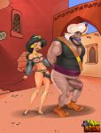 1_boy 1_female 1_girl 1_male aladdin_(series) bondage disney duo female guard human human_only male male/female outdoors princess_jasmine razul sex standing toon_bdsm whip