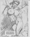big_breasts breasts julius_zimmerman_(artist) monochrome nipples princess_leia_organa pussy slave_leia star_wars