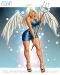 1girl absurd_res angel arm arms art babe bare_arms bare_legs bare_shoulders big_breasts blue_dress blue_eyes breasts collarbone cross-laced_footwear dark-skinned_female dark_skin dress full_body halo high_heels high_res holding holding_weapon idarkshadowi_(artist) legs lips lipstick long_hair looking_at_viewer o-ring o-ring_clothes o-ring_dress parted_lips see-through smile standing trident weapon white_hair wings