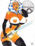 ahsoka_tano big_breasts breasts death_star lightsaber nipples rob_durham rob_durham_(artist) star_wars star_wars:_the_clone_wars white_background