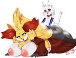 1girl anthro ass big_ass big_breasts blush breasts collar delphox furry heart heterochromia highres huge_breasts male male/female nintendo nude open_mouth overweight pokemon saliva sex smile teddy_jack tongue tongue_out video_games whiskers white_background