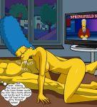 big_ass big_breasts breasts fellatio marge_simpson milf oral the_simpsons tv window yellow_skin