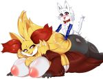 1girl anthro ass big_ass big_breasts blush breasts collar delphox furry heterochromia highres huge_breasts male male/female nintendo nude open_mouth overweight pokemon sex smile teddy_jack tongue tongue_out video_games whiskers white_background