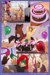 anthro balloon birthday_cake buck_(sergeantbuck) bulge cake cat clothing comic drunk ear_piercing feline food furry green_thong group hair iskra_(artist) lagomorph lexus_(lexusbun) mammal pants piercing rabbit red_hair ryan_moonshadow shirt sledge_revorse sofa