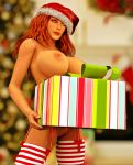 1girl 3d big_breasts breasts christmas commander_shepard female_solo femshep games girl girls green_eyes hat hats human jane_shepard large_breasts legs living_room mass_effect mass_effect_2 mass_effect_3 nipples nude posing present red_hair render santa_hat solo_female stockings video_games xnalara xps