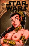 breasts brown_hair garrett_blair_(artist) nipples princess_leia_organa star_wars