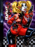 ass blonde_hair dc_comics garrett_blair_(artist) gun harley_quinn looking_back makeup non-nude smile weapon