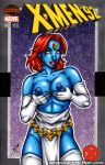 blue_skin breast_grab breasts comic_cover elbow_gloves fingerless_gloves garrett_blair garrett_blair_(artist) marvel mystique nipples red_nails thighhighs x-men yellow_eyes