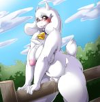 1girl 1girl 2016 anthro areola bell big_breasts boss_monster breasts caprine clitoris collar cowbell erect_nipples fence furry goat high_res mammal mature_female monster navel nipples nude pussy slightly_chubby suddenhack toriel undertale video_games wet_pussy