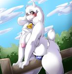 1girl 1girl 2016 anthro areola bell big_breasts boss_monster breasts caprine clitoris clothed clothing collar cowbell erect_nipples fence furry goat high_res mammal mature_female monster navel nipples pussy slightly_chubby suddenhack topless toriel undertale underwear video_games wet_pussy