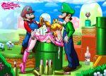 gif luigi mario piranha_plant princess_peach super_mario_bros. tekuho_(artist)