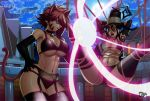 2girls animal_ears arms_behind_head bdsm big_breasts bikini blair bondage bound breasts brown_eyes brown_hair cat_ears cat_girl cat_tail crossover elbow_gloves facial_mark fairy_tail fake_animal_ears garter_straps gloves hair hand_on_hip hat headgear jadenkaiba jadenkaiba_(artist) long_hair looking_at_another magic milliana millianna moon multiple_girls navel night open_mouth purple_hair short_hair smile soul_eater spread_legs stomach suspension swimsuit tail thighhighs toned whisker_markings witch witch_hat yellow_eyes