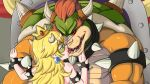 artist_request blonde_hair blue_eyes bowser crown horn kissing long_hair mask princess_peach red_eyes red_hair saliva spiked_bracelet super_mario_bros. tongue