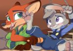1girl 2016 anthro blush bound canine chain clothing cuffs_(disambiguation) disney duo fangs fox fur furry gloves_(marking) green_eyes grey_fur hindpaw judy_hopps lagomorph licking licking_lips male male/female mammal markings mistydash nick_wilde open_mouth orange_fur pawpads paws police_uniform predator/prey purple_eyes rabbit sex_toy tongue tongue_out uniform vibrator wet zootopia