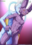 bbmbbf beerus blue_skin dragon_ball dragon_ball_super dragon_ball_z feline gay male palcomix purple_skin rear_deliveries sphynx tagme whis