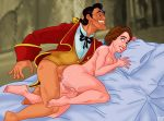anal beauty_and_the_beast bed big_breasts cum cum_inside disney gaston lipstick nude penis pillow princess_belle pussy sex smile tagme teeth titflaviy tits