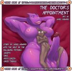anthro armpits balls better_version_at_source breasts comic cover cover_page dickgirl dragon feline furry intersex james_howard larger_intersex lying male mammal nude on_back patreon penis purple_skin scalie size_difference